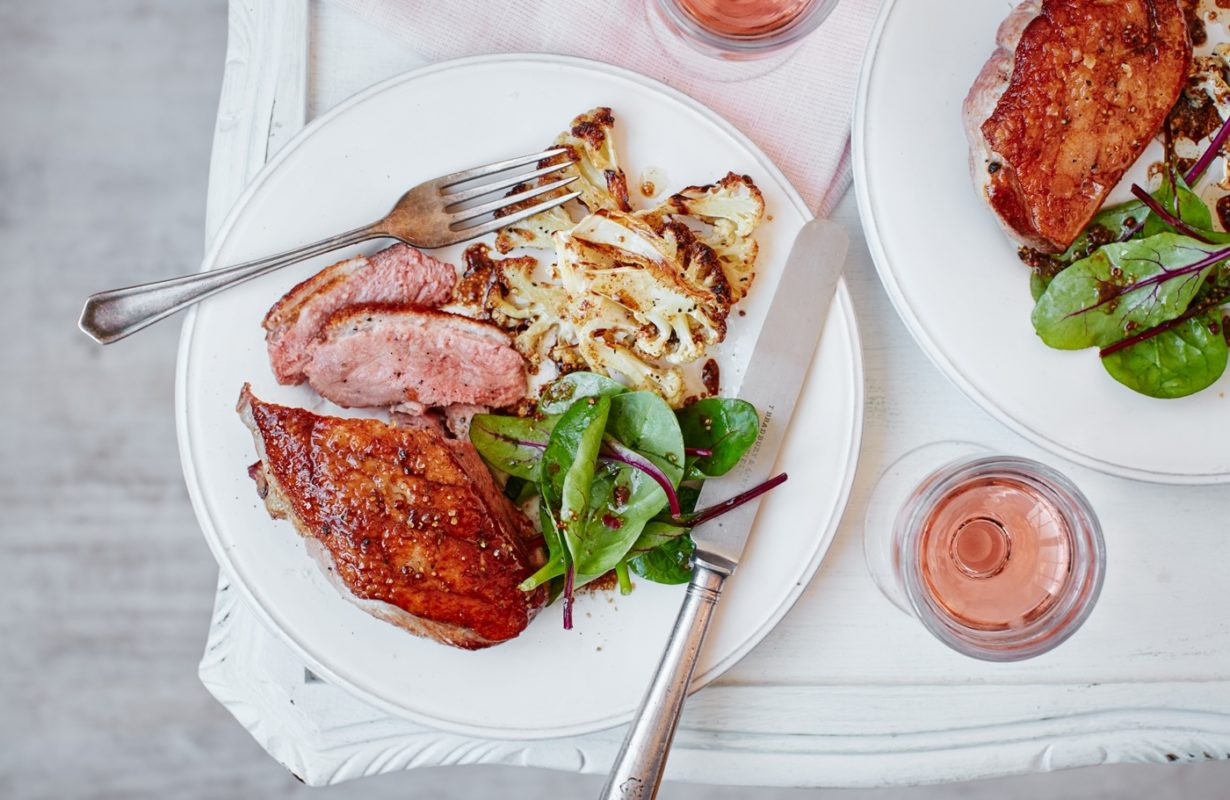 Duck with five spice roasted cauliflower