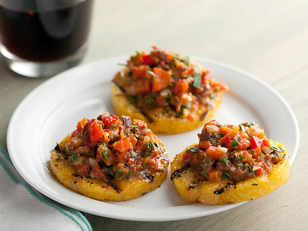 Grilled Polenta Crackers with Roasted Pepper Salsa; Rachael Ray