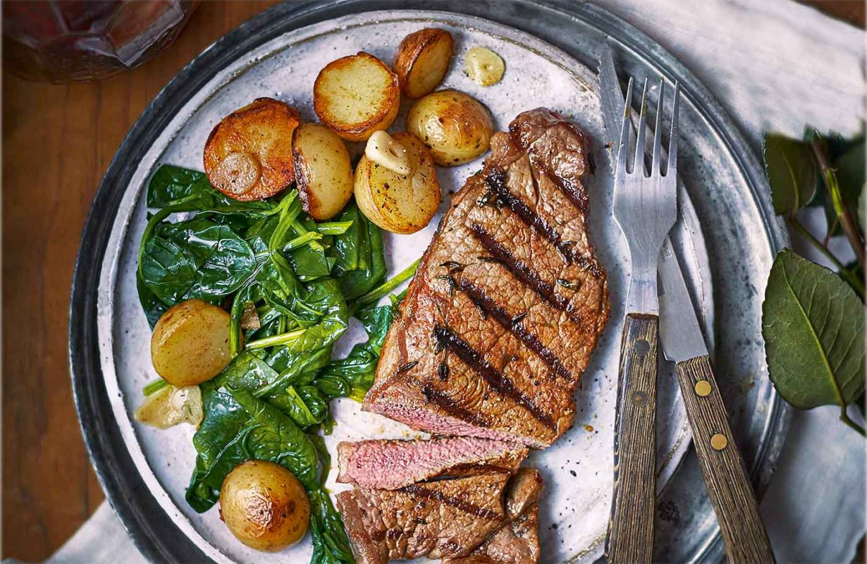 Paprika and thyme steaks with sautéed potatoes and spinach