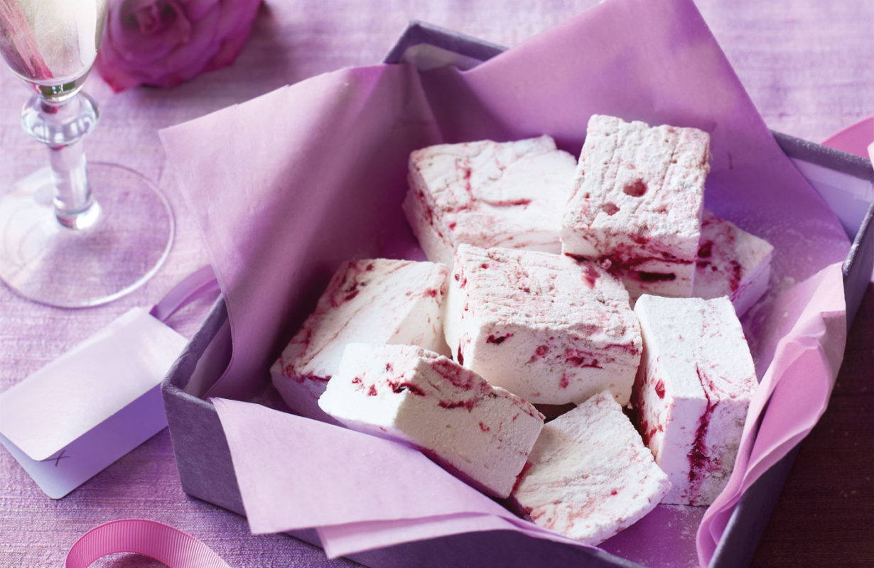Raspberry and rose marshmallows