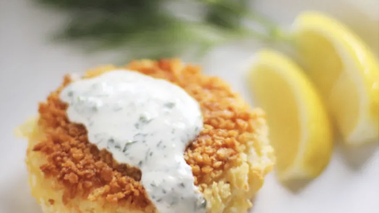 Smoked-Salmon-Potato-Cakes-with-Herb-Crème-Fraîche