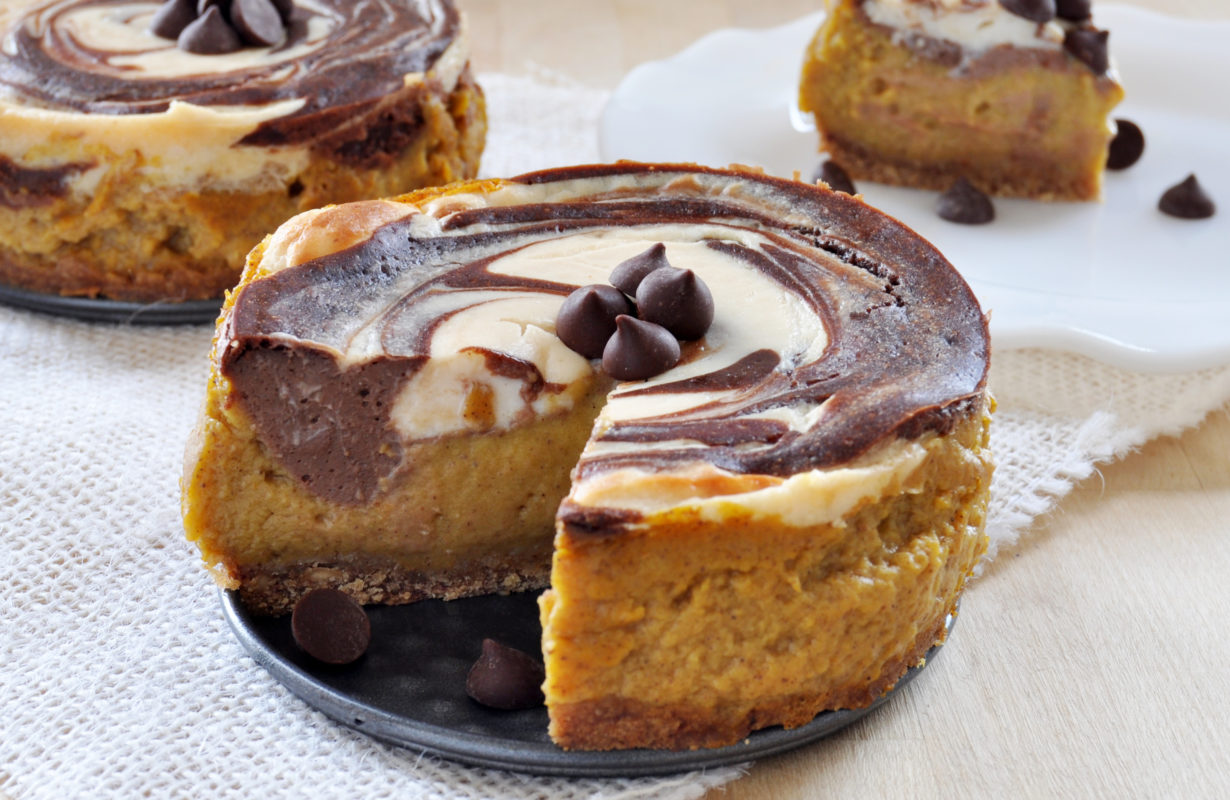 Swirled Pumpkin and Chocolate Cheesecake