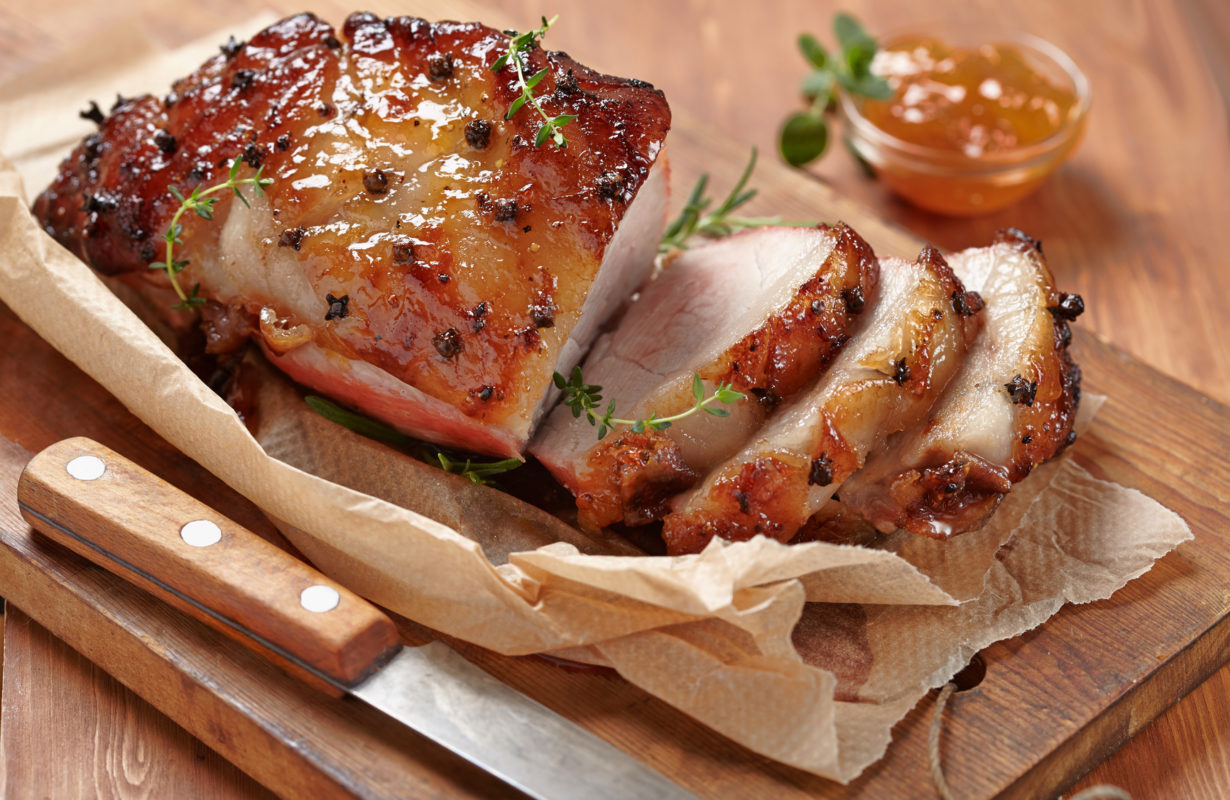Baked meat with orange fruit jam and allspice